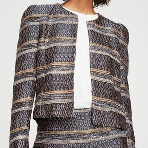 MANGO Embroidered Jacquard Puff Sleeve Jacket, XS